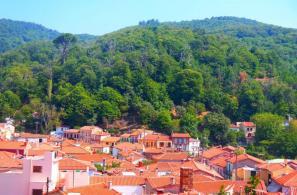Άποψη του χωριού και του λόφου Αγίου Σπυρίδωνα από την Αγριά (φωτό Δημοσθένη Γ. Σκλεπάρη).